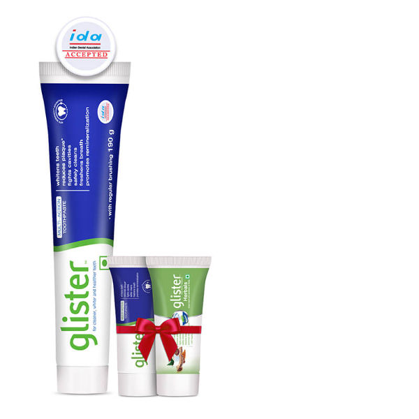 Buy 190g Glister Multi action and Get 1 each of 40g Herbals & Multi action at Rs.19 only (Buyer's Price)